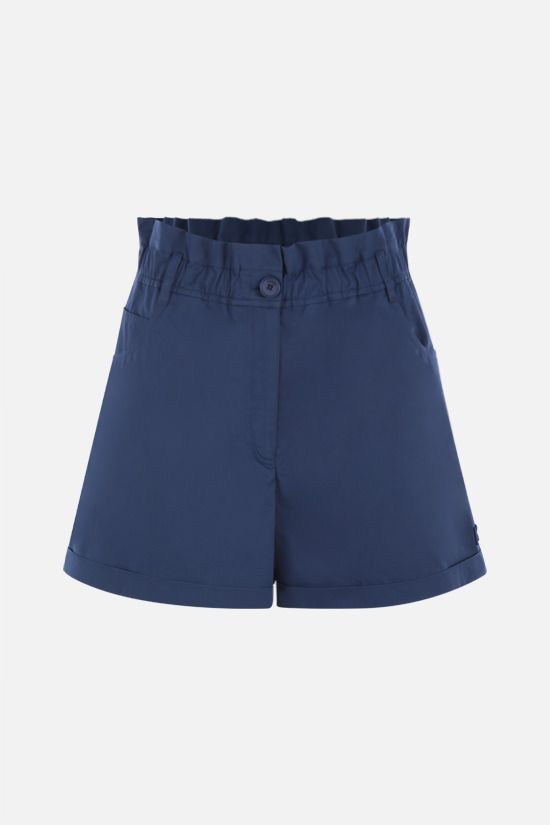 KENZO: K-embroidered cotton shorts Color Blue_1