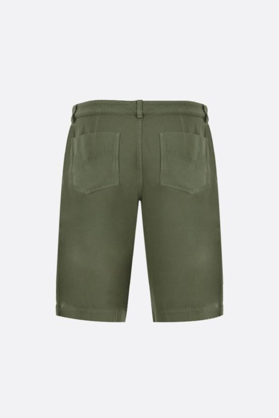 KENZO: K embroidered cotton shorts Color Brown_2