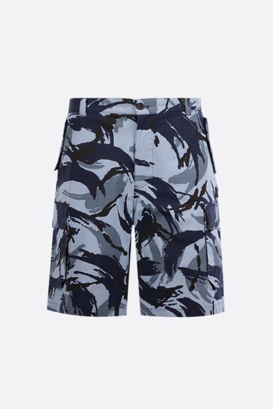 KENZO: Tropic Camo ripstop cotton shorts Color Blue_1