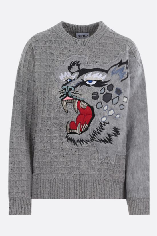 KENZO: Tiger embroidered wool alpaca blend pullover Color Grey_1