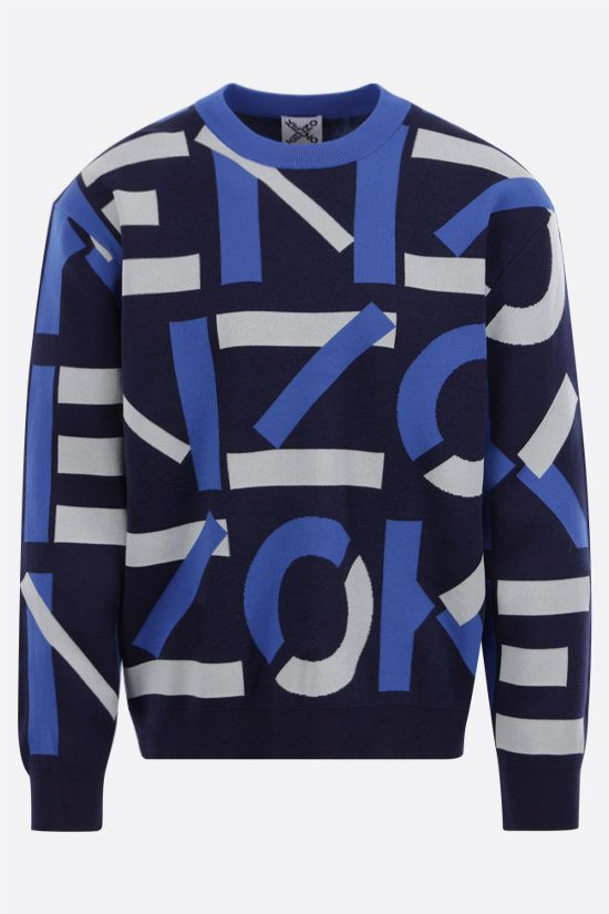 KENZO: Kenzo Sport Monogram cotton blend pullover Color Blue_1