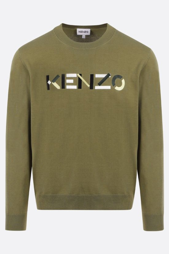 KENZO: Kenzo Logo cotton pullover Color Brown_1