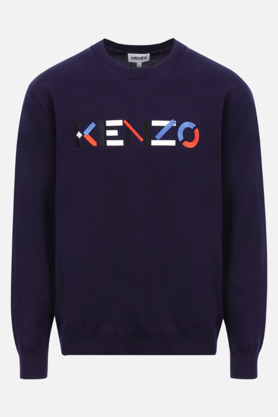 KENZO: Kenzo Logo cotton pullover Color Blue_1