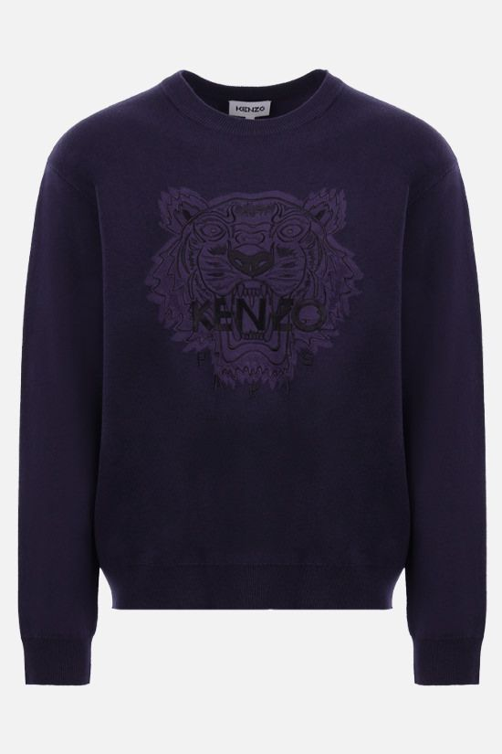 KENZO: Tiger cotton wool blend pullover Color Blue_1