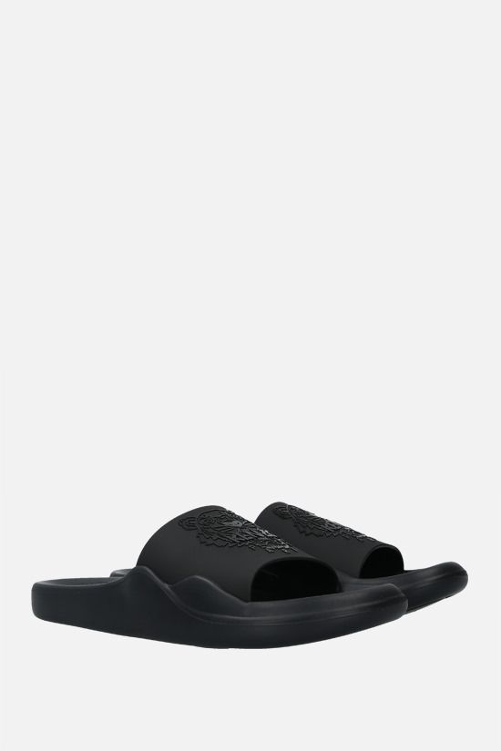 KENZO: Tiger rubber slide sandals Color Black_2