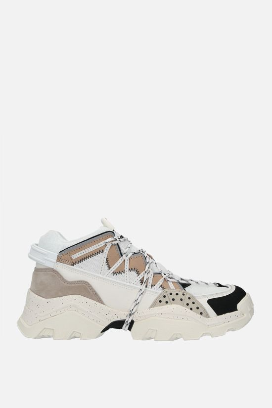 KENZO: Inka mesh and smooth leather sneakers Color Grey_1