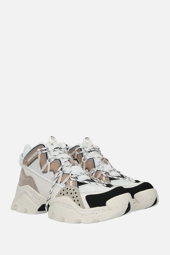 KENZO: Inka mesh and smooth leather sneakers Color Grey_2