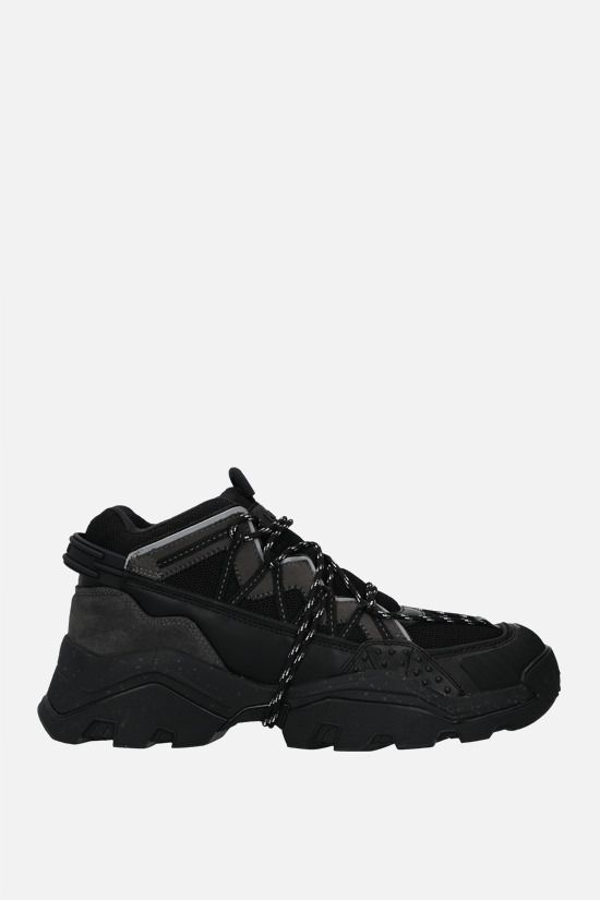 KENZO: Inka mesh and smooth leather sneakers Color Black_1