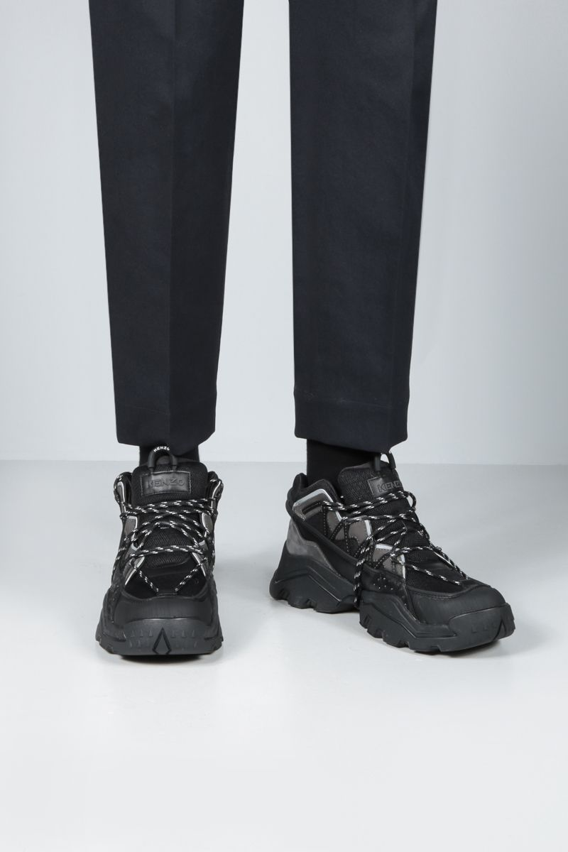 KENZO: Inka mesh and smooth leather sneakers Color Black_2