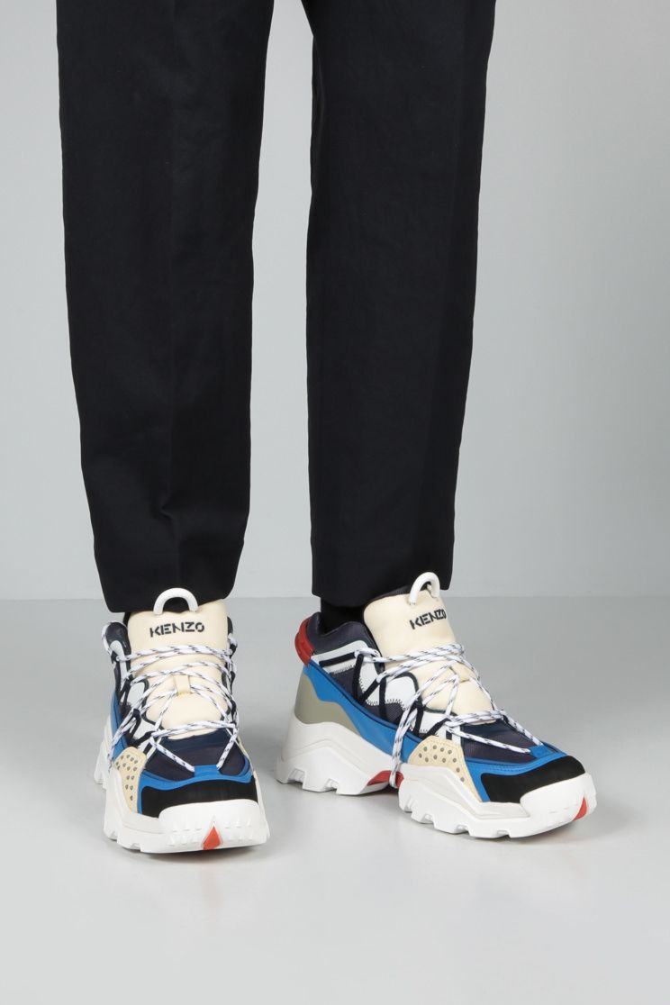 KENZO: Inka mesh and rubber sneakers Color Blue_2