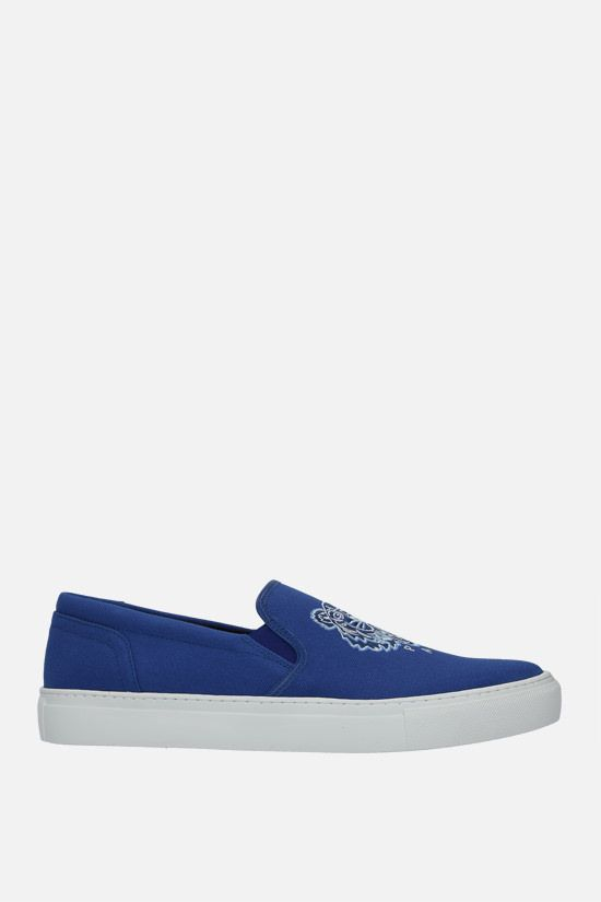 KENZO: K-Skate Tiger canvas slip-on sneakers Color Blue_1