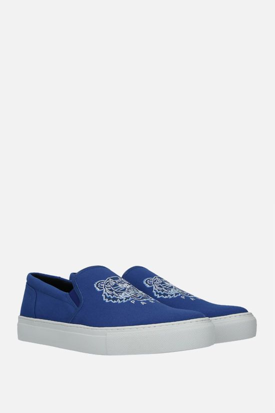 KENZO: K-Skate Tiger canvas slip-on sneakers Color Blue_2