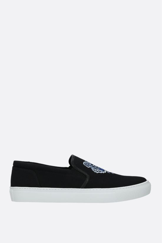 KENZO: K-Skate Tiger canvas slip-on sneakers Color Black_1