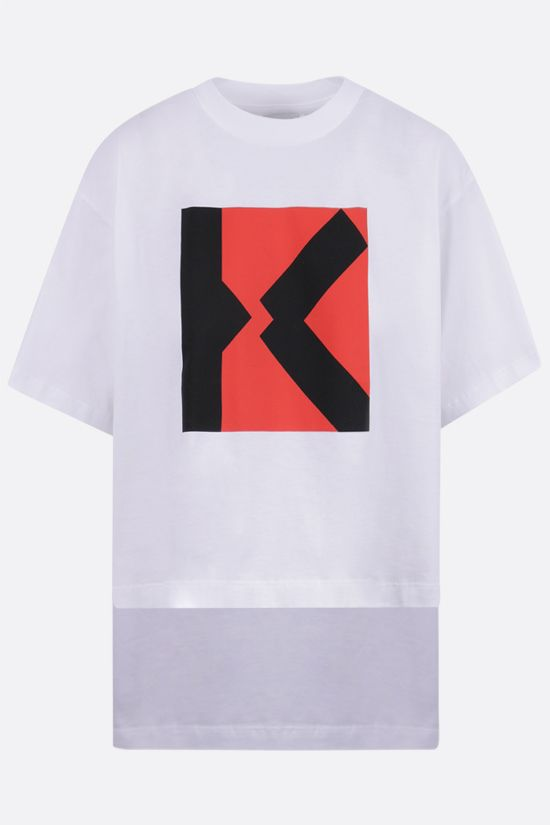 KENZO: Blocked X cropped cotton t-shirt Color White_1