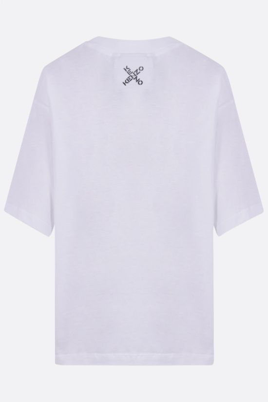 KENZO: Blocked X cropped cotton t-shirt Color White_2