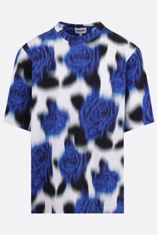 KENZO: floral print oversize cotton t-shirt Color Blue_1