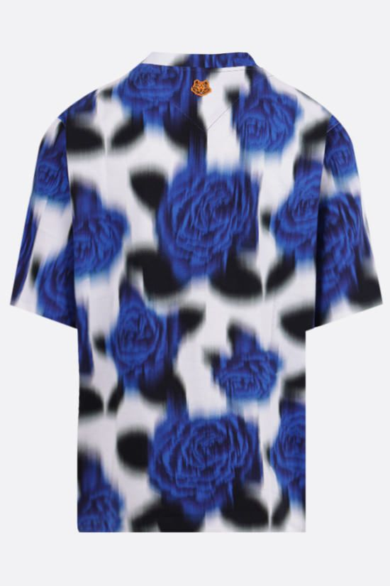 KENZO: floral print oversize cotton t-shirt Color Blue_2