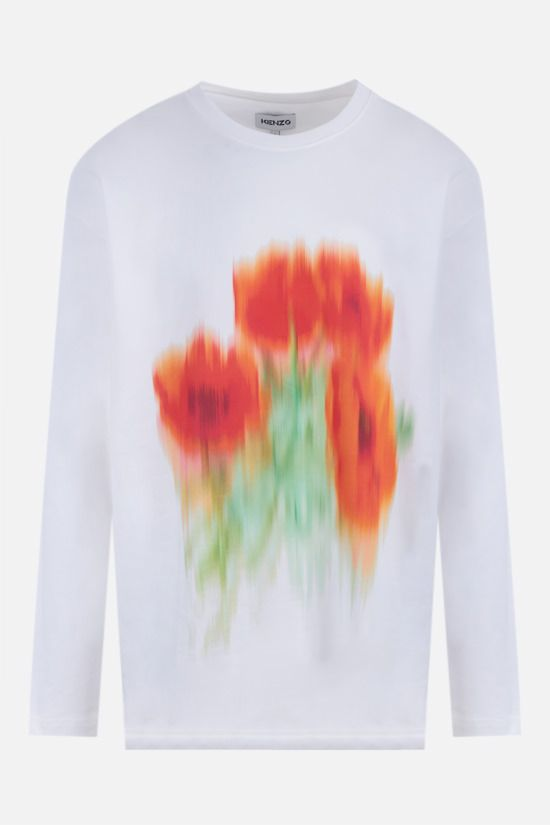 KENZO: Poppy long-sleeved cotton t-shirt Color White_1