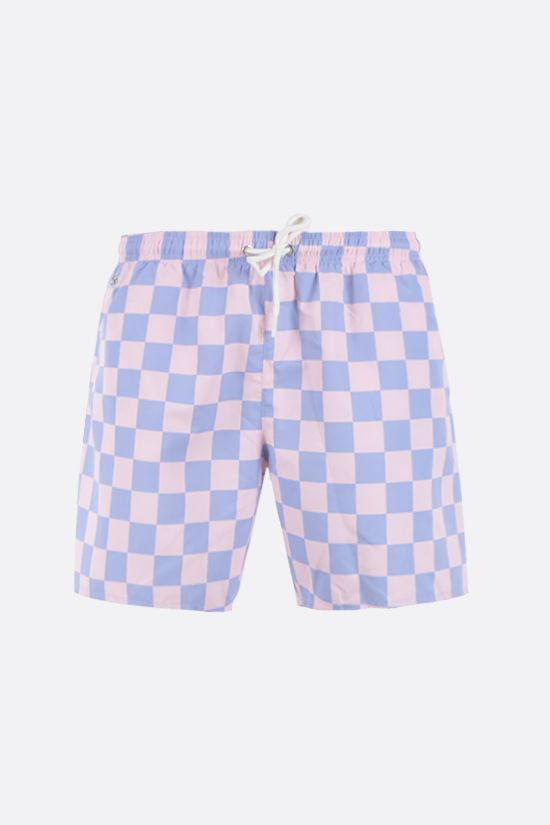 LACOSTE L!VE: checkerboard print taffeta swim shorts Color White_1