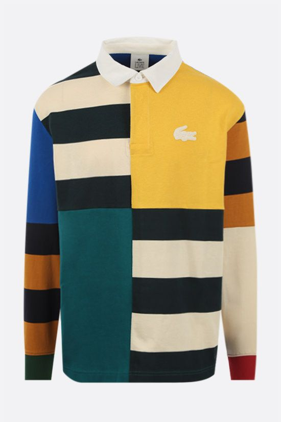 LACOSTE L!VE: colour-block patchwork jersey long-sleeved polo shirt Color Multicolor_1