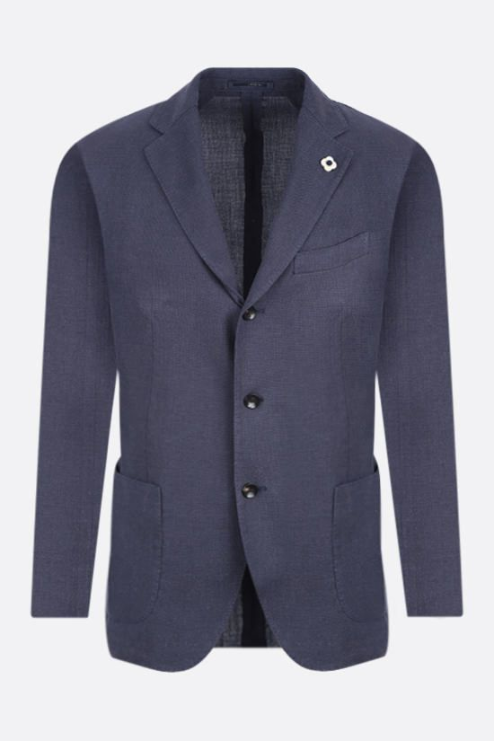 LARDINI: single-breasted jacket in wool silk cashmere blend Color Blue_1