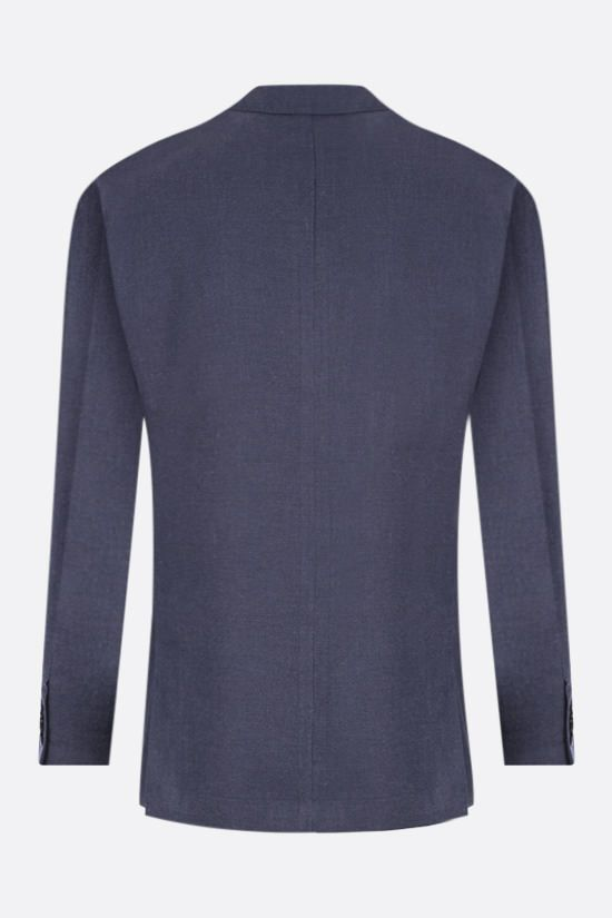 LARDINI: single-breasted jacket in wool silk cashmere blend Color Blue_2