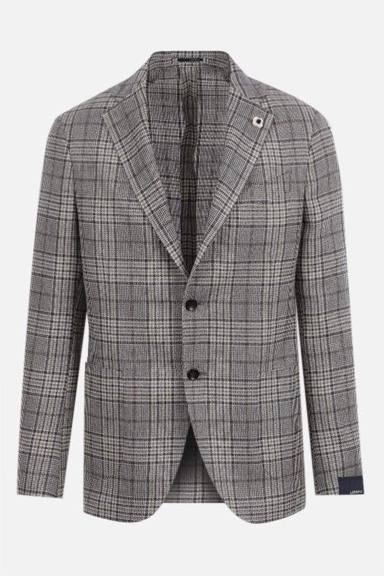 LARDINI: single-breasted check silk linen wool blend jacket Color Grey_1