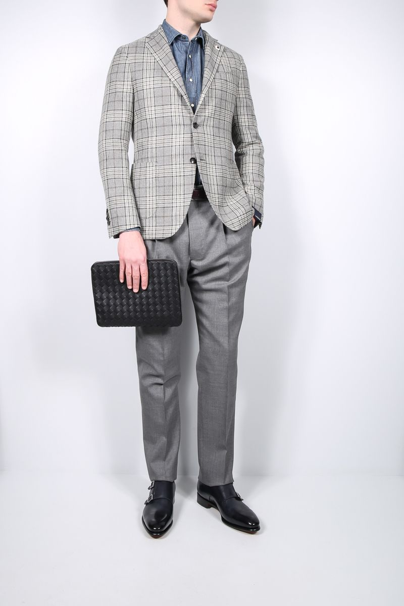 LARDINI: single-breasted check silk linen wool blend jacket Color Grey_2