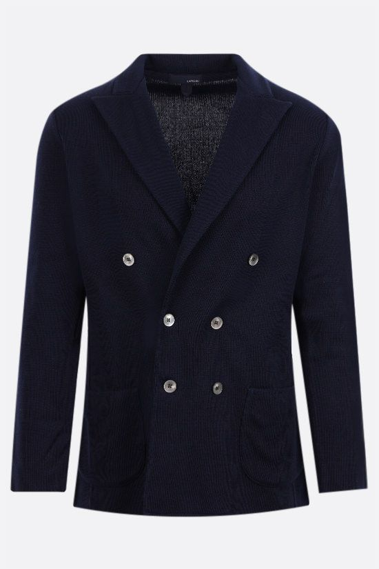 LARDINI: double-breasted cotton jacket Color Blue_1