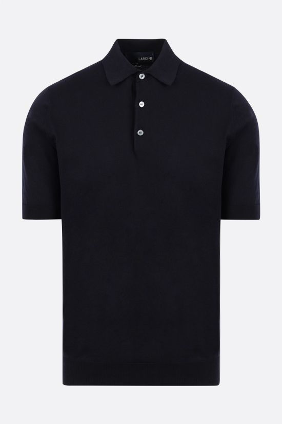 LARDINI: cotton knit polo shirt Color Blue_1