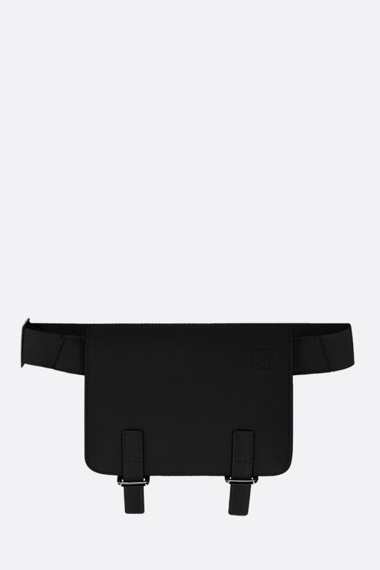 LOEWE: Military grainy leather belt bag Color Black_1
