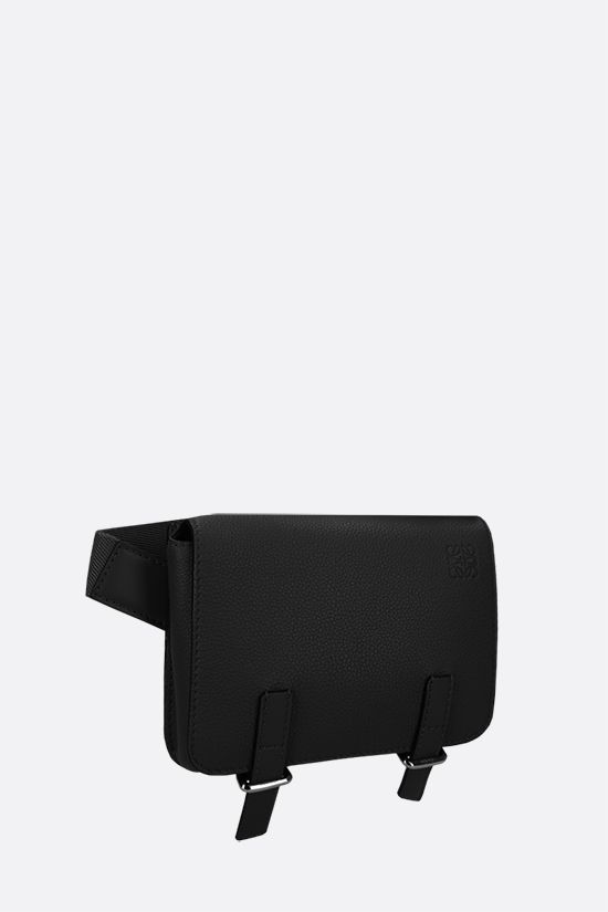 LOEWE: Military grainy leather belt bag Color Black_2