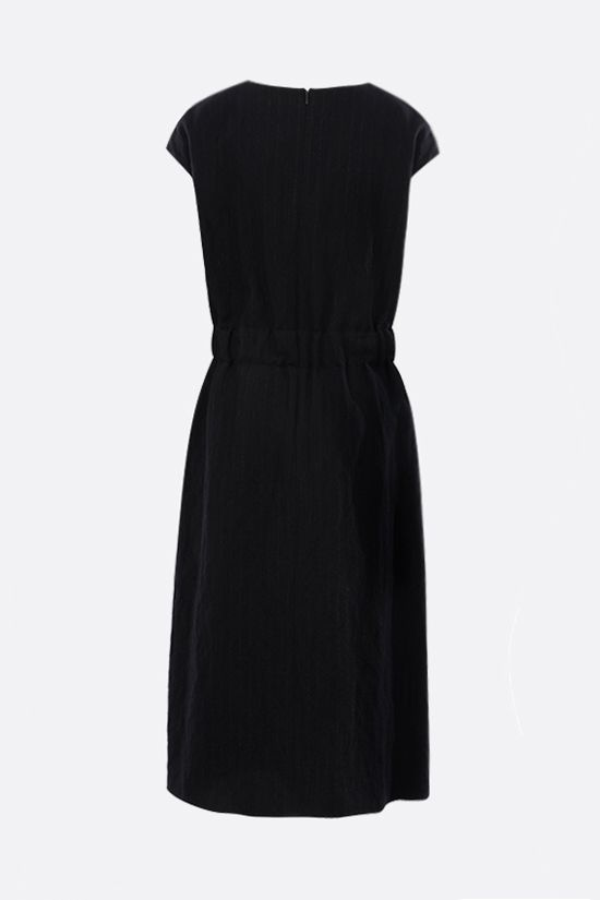 LOEWE: pinstriped wool cotton blend sleeveless dress Color Black_2