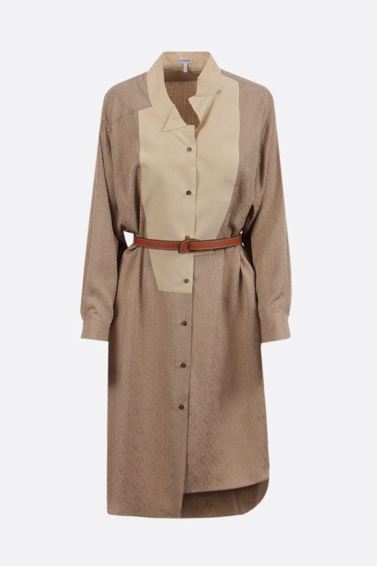 LOEWE: Anagram silk shirt dress Color Neutral_1