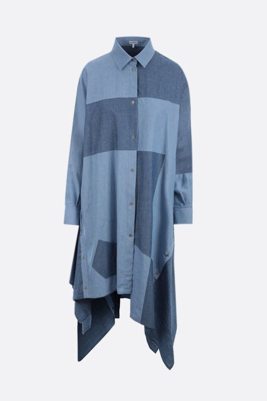 LOEWE: oversize patchwork chambray midi dress Color Blue_1