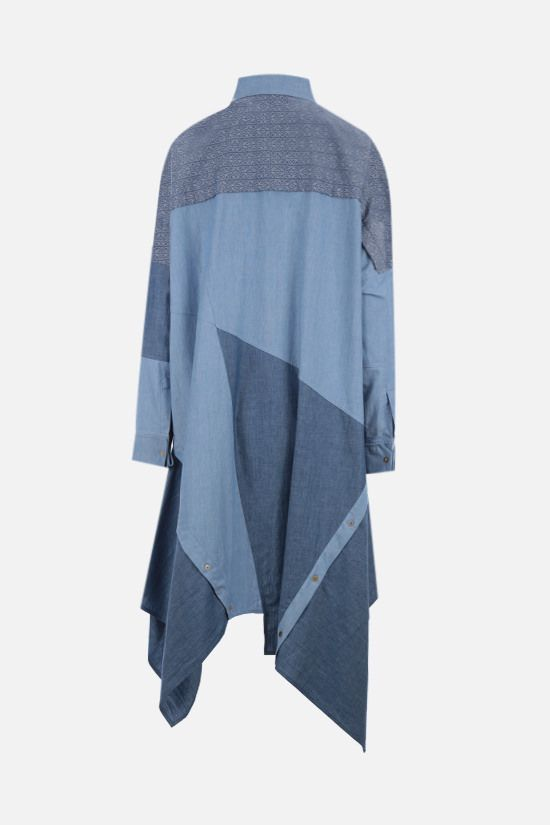 LOEWE: oversize patchwork chambray midi dress Color Blue_2