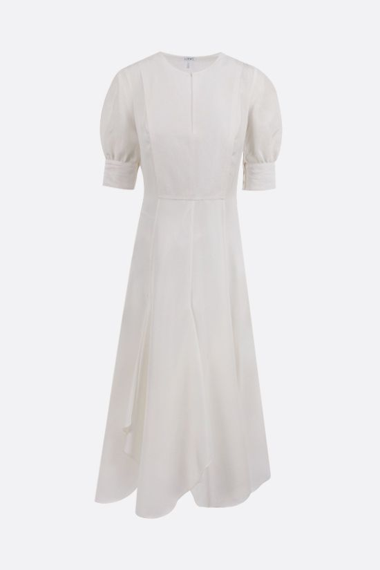 LOEWE: linen and silk midi dress Color White_1