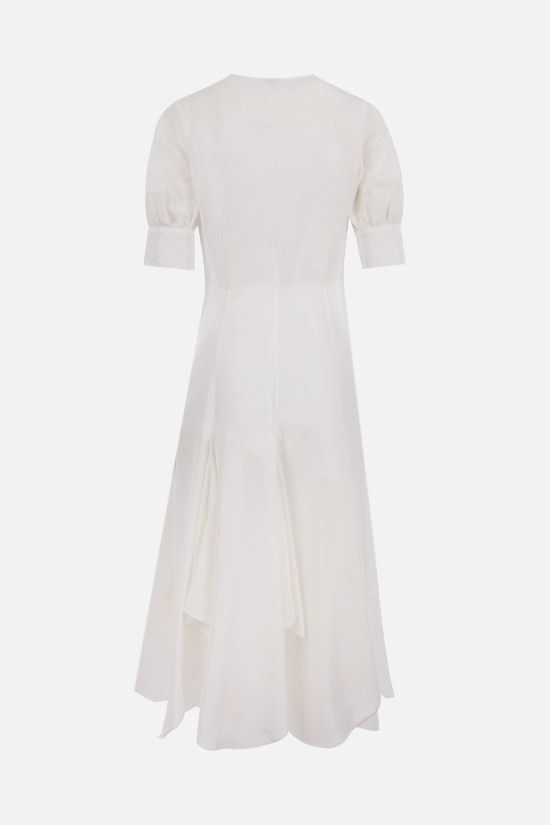 LOEWE: linen and silk midi dress Color White_2