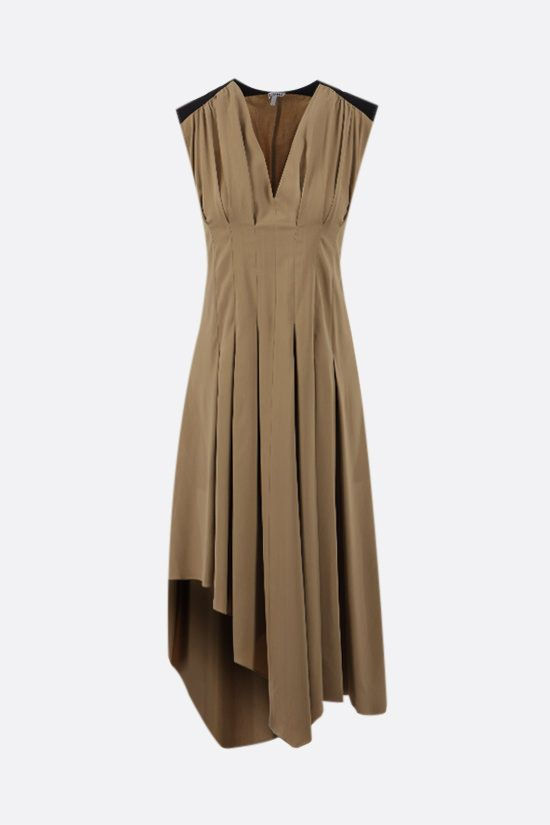 LOEWE: viscose asymmetric dress Color Brown_1