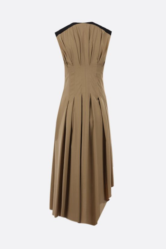 LOEWE: viscose asymmetric dress Color Brown_2