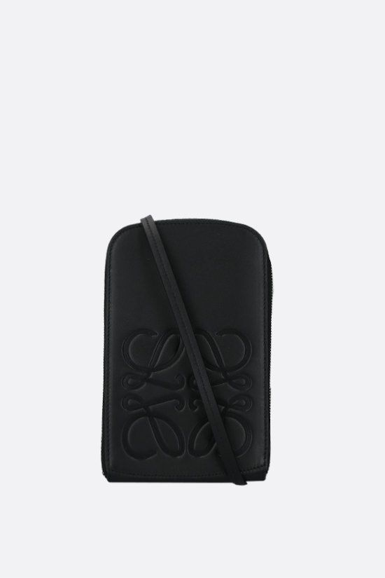 LOEWE: smooth leather smartphone holder Color Black_1