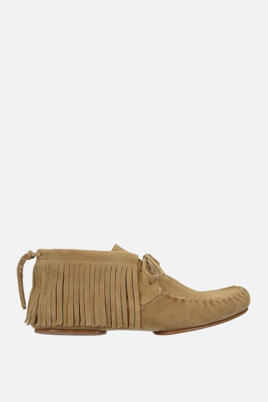 LOEWE: fringe-detailed suede high-top loafers Color Gold_1