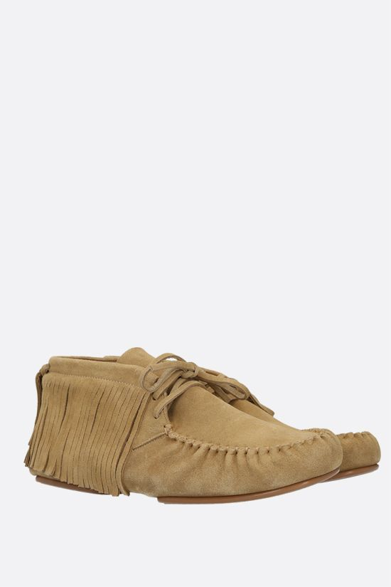 LOEWE: fringe-detailed suede high-top loafers Color Gold_2
