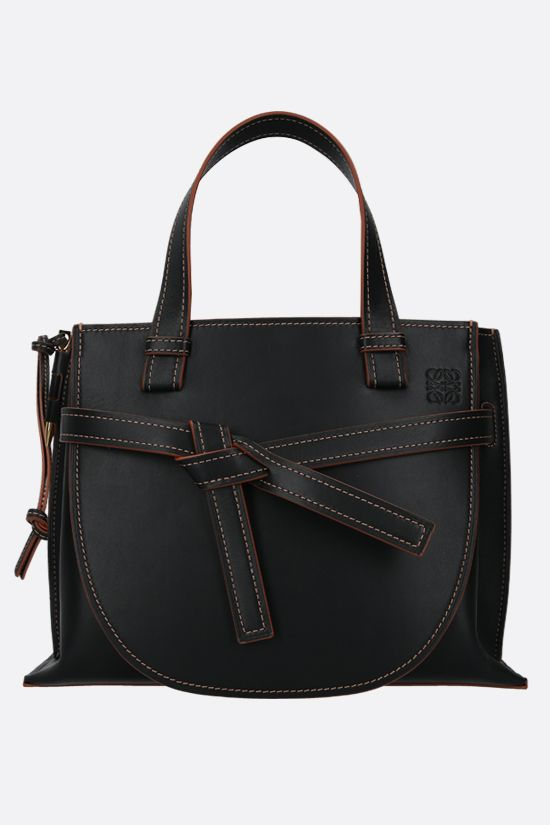 LOEWE: Gate small smooth leather handbag Color Black_1