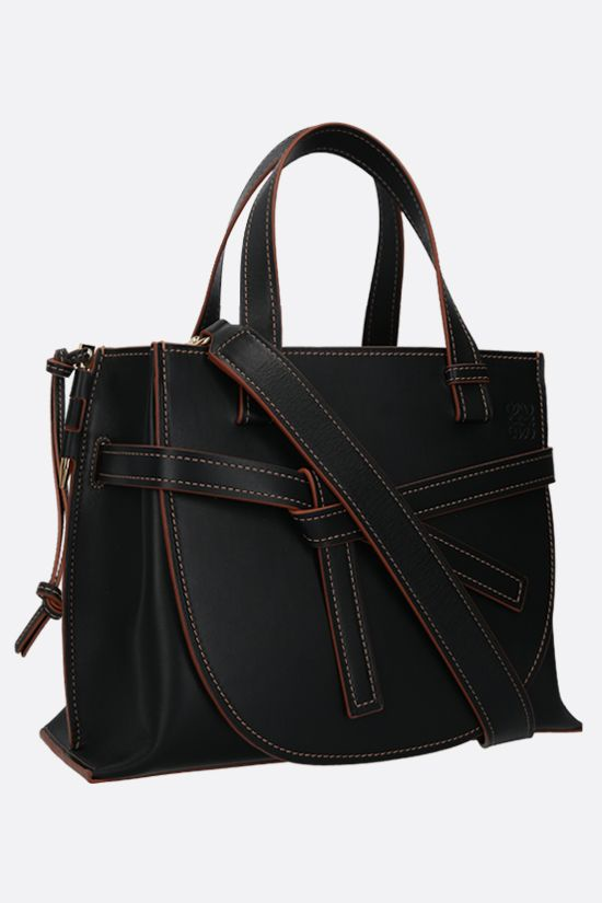 LOEWE: Gate small smooth leather handbag Color Black_2