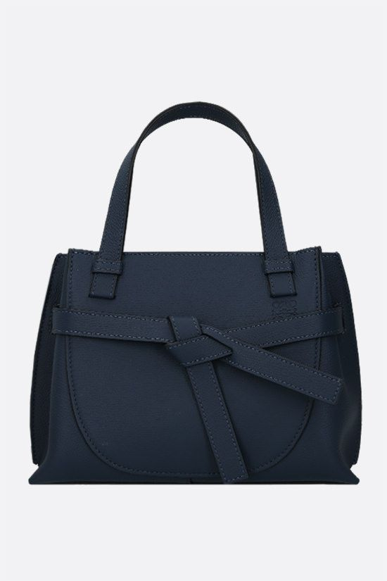 LOEWE: Gate mini grainy leather handbag Color Blue_1