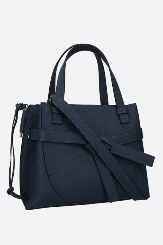 LOEWE: Gate mini grainy leather handbag Color Blue_2