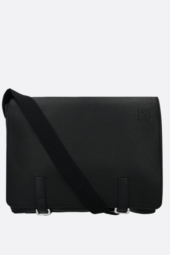 LOEWE: Military grainy leather messenger bag Color Black_1