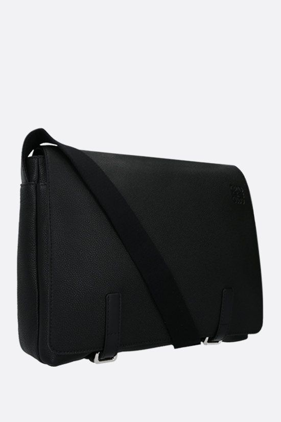LOEWE: Military grainy leather messenger bag Color Black_2