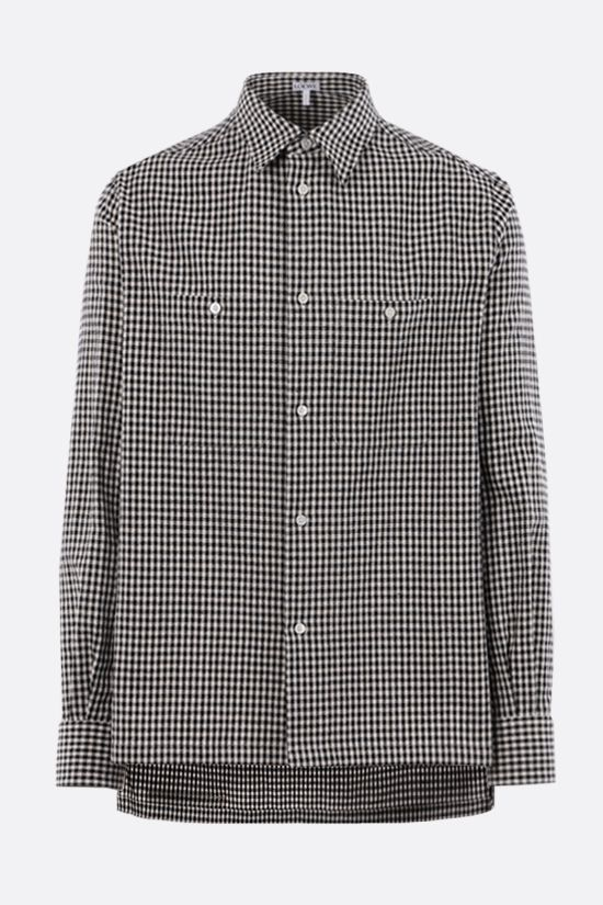 LOEWE: oversize check cotton linen blend shirt Color Black_1